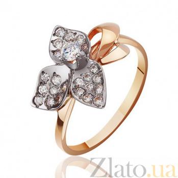 Кольцо с цветком из белого золота Камелия EDM--КД0184