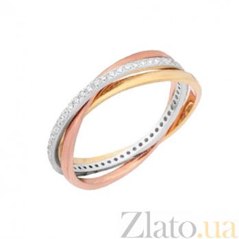 Серебряное кольцо Трио с позолотой и цирконием 000028035