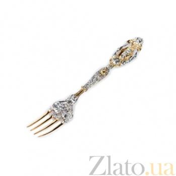 Серебряная столовая вилка Людовик с позолотой 011