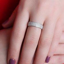 Золотое кольцо с цирконами Белая ночь