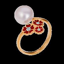 Золотое кольцо 5 сердец с жемчужиной, бриллиантами и эмалью