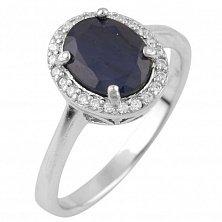 Серебряное кольцо Роксана с сапфиром и фианитами