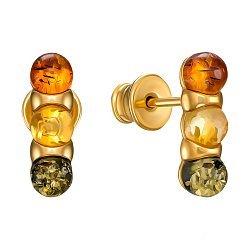 Серебряные серьги-пуссеты с разноцветным янтарем и позолотой 000137570