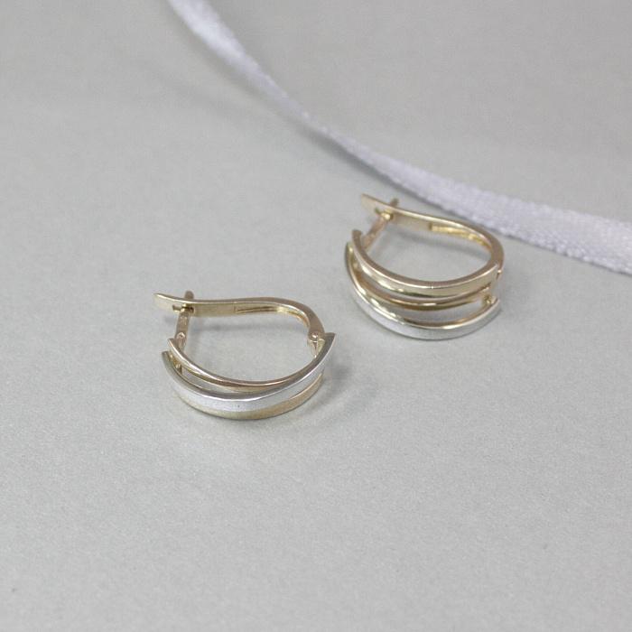 Золотые серьги Юджина с частичным родированием SUF--110306