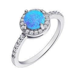 Серебряное кольцо с опалом и фианитами 000139626
