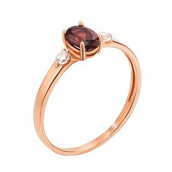 Кольцо из красного золота с гранатом и фианитами 000126498