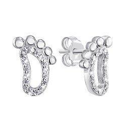 Серебряные серьги-пуссеты с цирконием 000140127