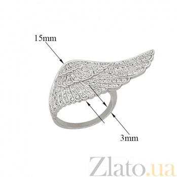 Кольцо из белого золота Ангельское крыло с фианитами VLT--ТТ1272