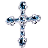 Серебряный крест Небесный с фианитами