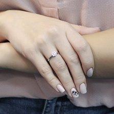 Золотое кольцо Араника в белом цвете с кристаллами Swarovski