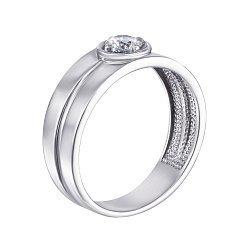 Серебряный перстень-печатка с цирконием 000119314
