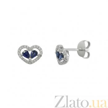 Золотые серьги с сапфирами и бриллиантами Влюбленность 000026640