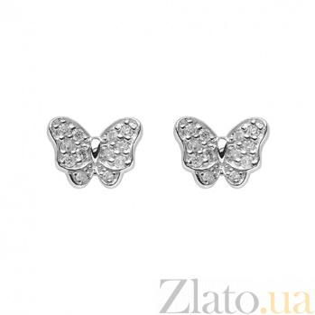 Золотые серьги в белом цвете с цирконием Батерфляй ZMX--ECz-00527w_K