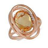 Кольцо Африка из красного золота с бриллиантами и цитрином