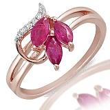 Кольцо Динара из красного золота с бриллиантами и рубинами
