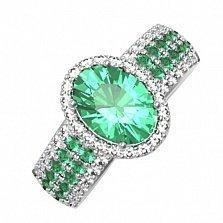 Серебряное кольцо Орнелла с зеленым кварцем и фианитами