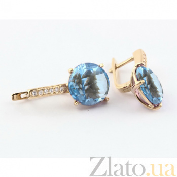 Золотые серьги с голубым топазом и фианитами Аделаис 000024412