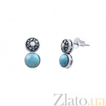 Серебряные серьги с им. бирюзы Лунджил AQA--4200212