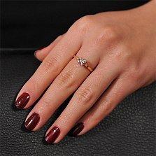 Золотое кольцо Белый тюльпан с бриллиантом