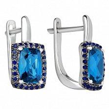 Золотые серьги Княгиня Ольга с лондон топазами и синими сапфирами