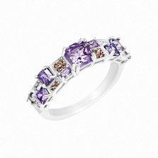 Серебряное кольцо Светлана с аметистом и фианитами