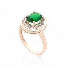 Золотое кольцо Натали с зеленым кварцем и фианитами