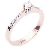 Золотое кольцо красного цвета с бриллиантами Взаимная любовь