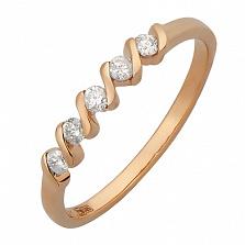 Кольцо из красного золота с бриллиантами Waves