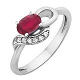 Серебряное кольцо с  рубином Азон