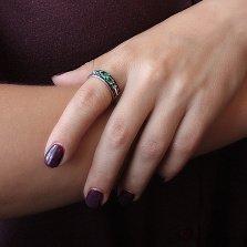 Серебряное кольцо Улексия с зеленым кварцем и фианитами