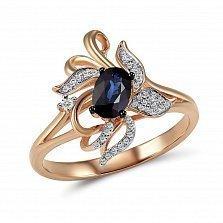 Кольцо из красного золота Медея с бриллиантами и сапфиром