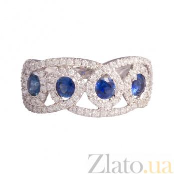 Золотое кольцо с сапфирами и бриллиантами Тамария 1К441-0173