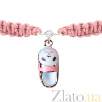 Детский плетеный браслет Тапочек с котенком с эмалью и фианитом, 15-7см 000080599