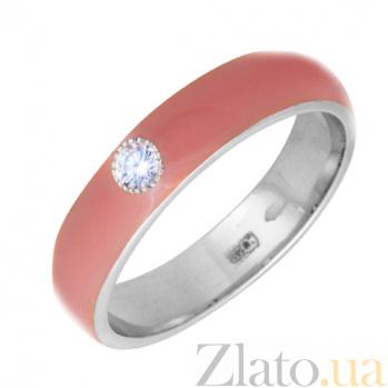 Золотое кольцо Пастель с фианитом и эмалью цвета коралл К220бел/кор
