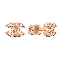 Серьги-пуссеты из красного золота с фианитами в стиле Шанель 000104252