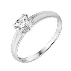 Золотое кольцо в белом цвете с бриллиантом 000036135