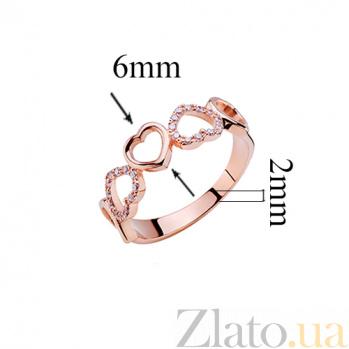 Кольцо в красном золоте с фианитами Влюбленность 000017771