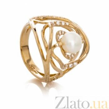 Золотое кольцо с жемчугом и цирконием Лидия 000029935