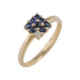 Золотое кольцо с сапфирами и бриллиантом Лабиринт