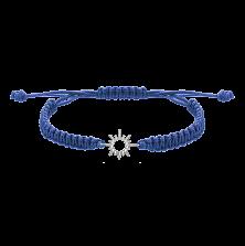Синий плетеный браслет Солнышко с серебряной вставкой, 10-20см
