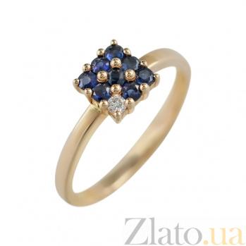 Золотое кольцо с сапфирами и бриллиантом Лабиринт 000026890