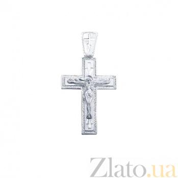 Серебряный родированный крест Святой дух AQA--3561-б