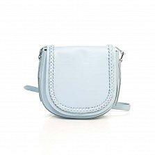 Кожаный клатч-седло Genuine Leather 6562 молочно-голубого цвета с декоративным элементом