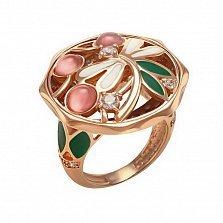 Кольцо в красном золоте Яра с улекситом, эмалью и фианитами