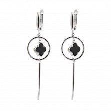Серебряные серьги-подвески Магия с черным ониксом в стиле Ван Клиф