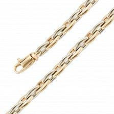 Золотой браслет Льюис в желтом и белом цвете с вытянутыми фантазийными звеньями, 5мм