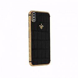 Apple IPhone X Noblesse LUMINARY BLACK GOLD в черной коже крокодила и золоте