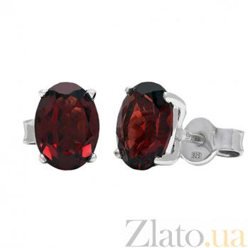 Серебряные серьги с гранатами Нора 3С071-0085