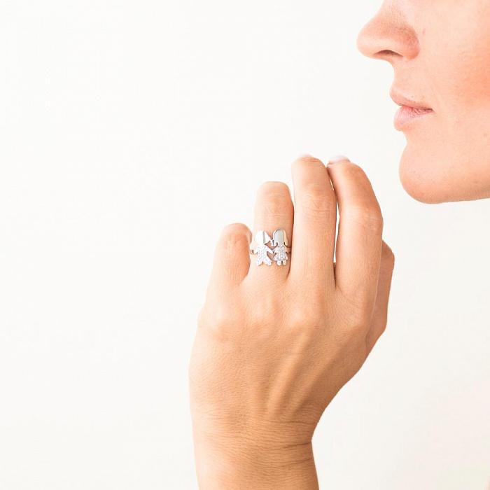 Золотое кольцо Дочка и Сын в белом цвете с белыми фианитами 000082421