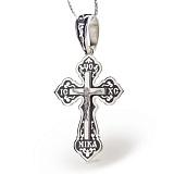 Серебряный крест с чёрной эмалью Ночная молитва